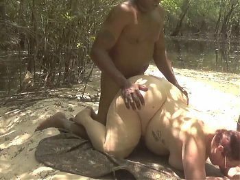 Fucking milf in the woods by the river