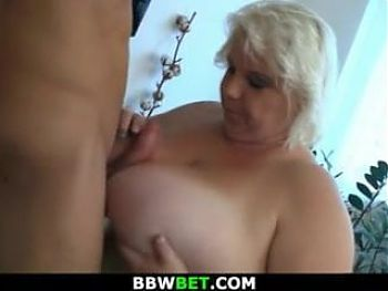 Fat blonde with huge boobs rides skinny guy's cock