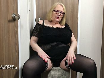 Granny Sally in black neg, silky pants and g string
